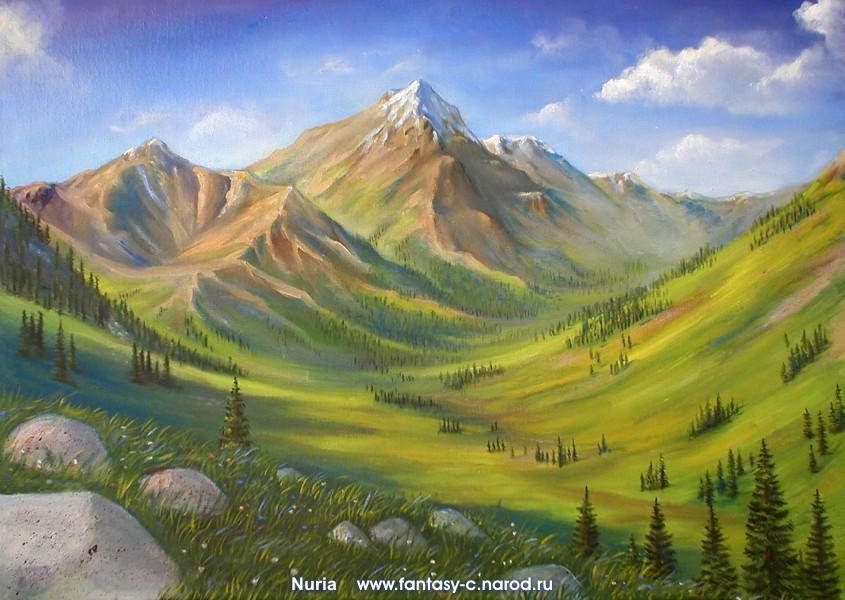 Пейзаж с горами рисовать